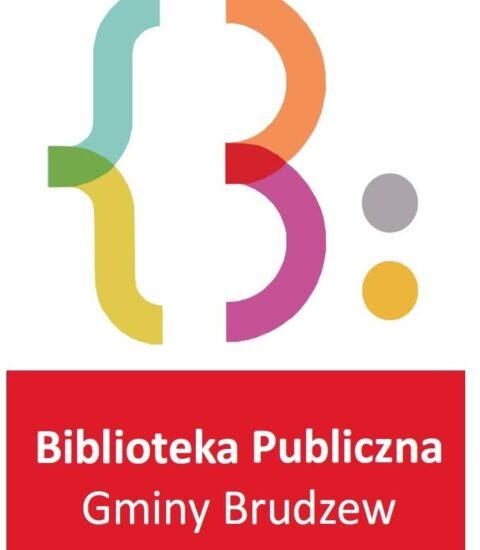 na białym tle kolorowa grafika, w dolnej częsści na czerwonym tle nazwa biblioteki białą czcionką