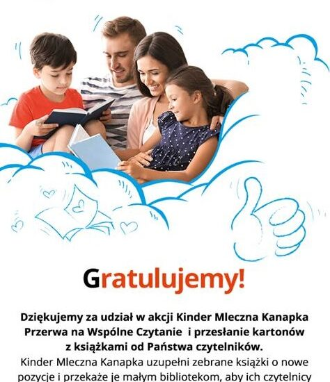 plakat, rodzina z dziećmi czyta książkę