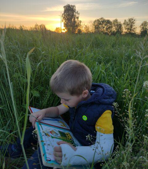 chłopiec siedzący w trawie, czyta książkę