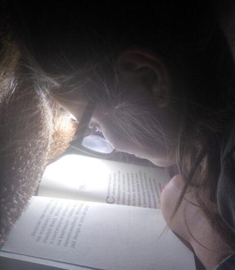 dziewczynka w okularach pochylona nad książką