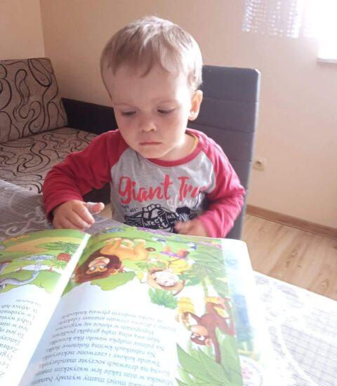 mały chłopiec siedzi przy stole patrzy w otworzoną książkę