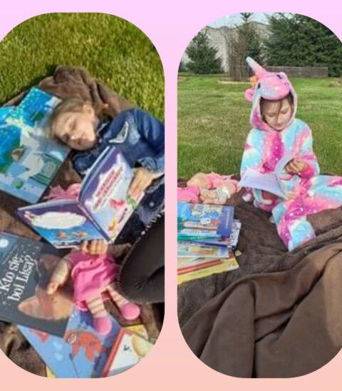 dwa zdjęcia na jednym, dziewczynka ubrana w kolorowy strój siedzi na kocu