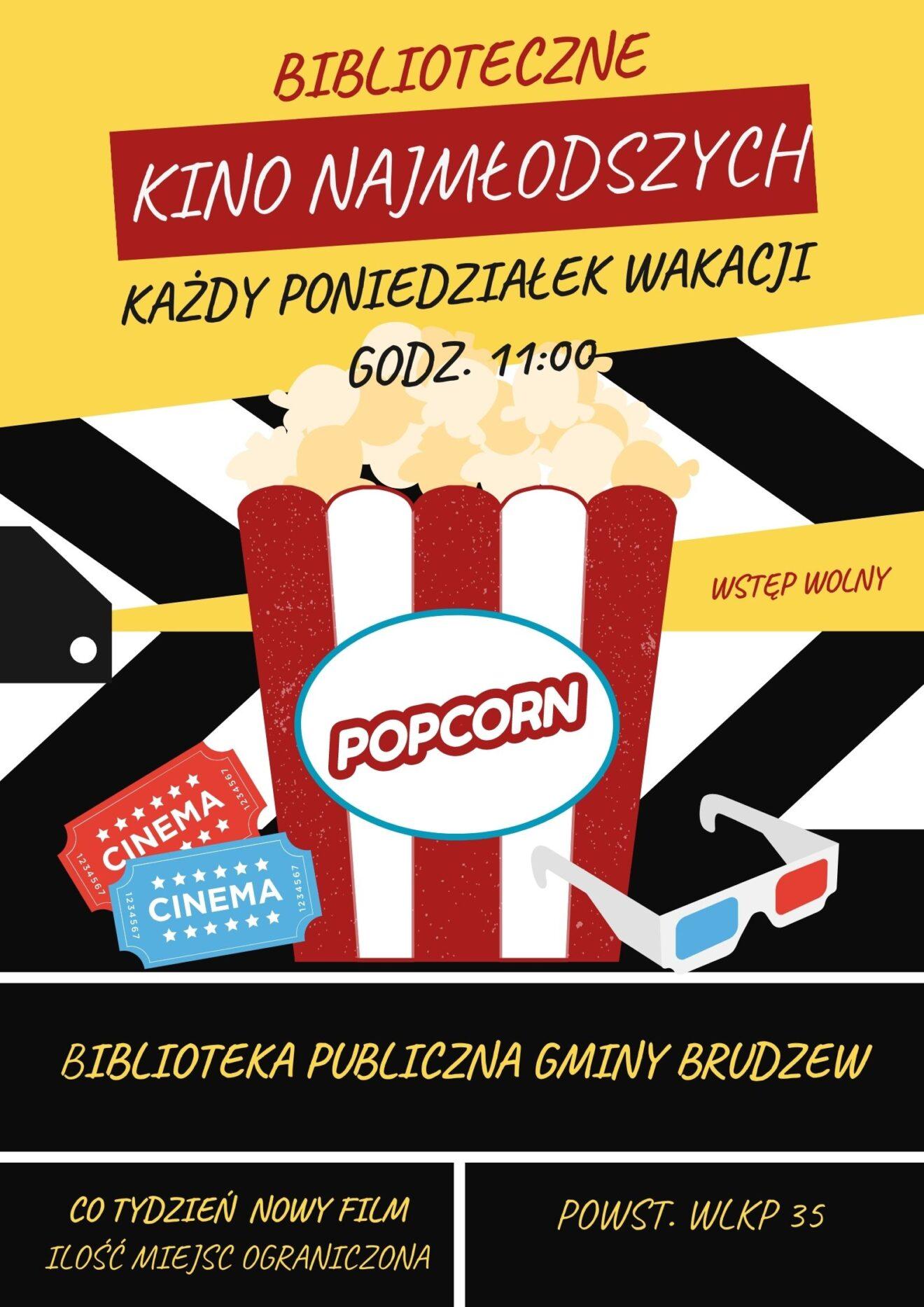 kolorowy plakat, na pierwszym planie kubełek z popcornem