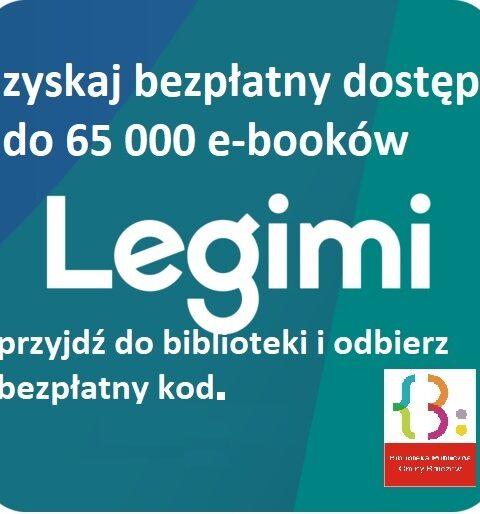 tekst białą czcionką, zachęcający do skorzystania z Legimi.