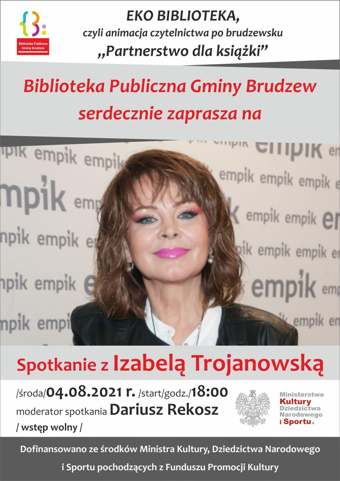 zdjęcie uśmiechniętej kobiety, ubranej w białą bluzkę i czarną marynarkę, dalej informacje dotyczące spotkania w bibliotece