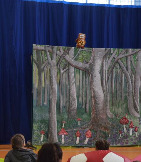 kobieta w przebraniu Czerwonego Kapturka w rękach trzyma pluszową zabawkę, na kurtynie imitującej las siedzi sowa zabawka